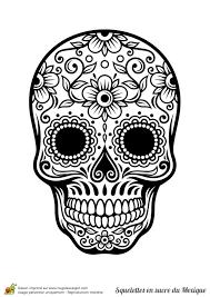 Coloriage Cr Ne En Sucre Mexicain Fleurs Et Harmonie Tete De Mort En Sucre Mexicaine A Colorier L