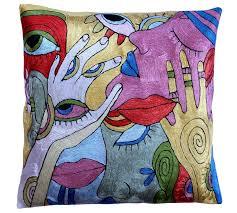 high end pillows. Exellent Pillows Klimtaccent Modern Pillowcover Kiss Decorative Handmade Art Silk 18 X 18 Throughout High End Pillows