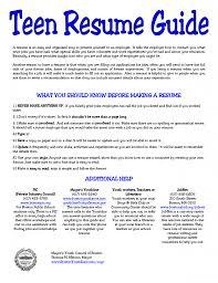 Teen Resume Resume Cv Cover Letter