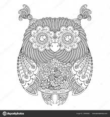 Leuke Uil Illustratie Sierlijke Gedessineerde Vogel Foto Om In Te