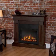 slim line electric fireplace in chestnut oak