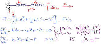 the second equation form above is called the quadratic matrix form q1 q2 are the displacements at the nodes