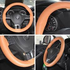 circle cool luxury style brown leather steering wheel wrap cover medium 14 25 to 15 25 universal fit