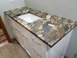 bathroom vanity in brown marinace granite
