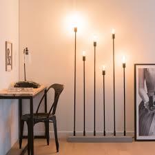 6 Armige Stehlampe Aus Schwarzem Metall Und Zement H165 In