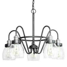 crofton collection 5 light rustic pewter chandelier with brushed nickel accents and clear seeded glass