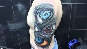 сергей шульга Demi глаза реалистичная татуировкареализм рукав