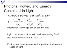5 photons power and energy contained in light intensity
