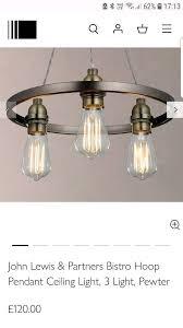 john lewis partners bistro hoop pendant ceiling light 3 light pewter 120 00