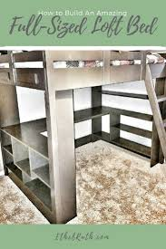 how to build bedroom furniture. DIY, Loft Bed - Full-sized Bed, With Desk, Shelves, Bedroom Ideas, How To Build Furniture