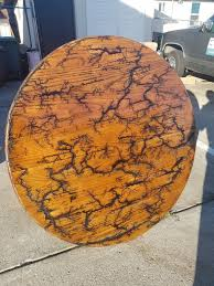 custom made eagle claw foot round oak dining table w fractal burn design for in castro valley ca offerup