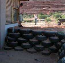 car tyre retaining wall recycled
