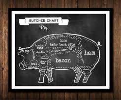 Pig Butcher Chart Art Pig Butcher Chart Chalkboard Pig Parts Poster Print