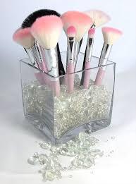 organized makeup brush display