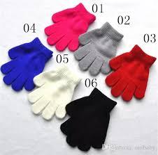 kids gloves knitting warm glove children boys girls mittens uni cartoon solid color separate finger gloves a08 children gloves leather gloves from