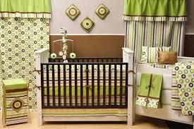 bacati mod dots and stripes green yellow chocolate 10 piece crib set
