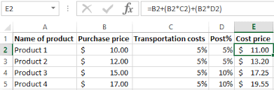 Standard Costing Formula Chart Calculation Of Production Costs In Excel