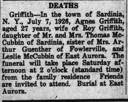 Agnes McCubbin Griffith Obituary, Roy Griffith's First Wife, July 7, 1926 -  Newspapers.com