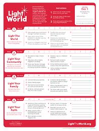 2018 Light The World Calendar Light The World With Me Lds Light The World World