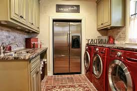 samsung red washer and dryer for traditional laundry room also brick floor exotic granite countertops painted and van brown glazed cabine red
