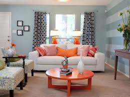 ... Living Room, Contemporary Living Room Features A Blue Linen Sofa With  White Piping Lined With ...
