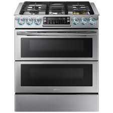 double oven gas range. Samsung Flex Duo 5-Burner 5.8-cu Ft Self-Cleaning Slide-In Double Oven Gas Range L