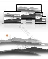 黑白山川扁平中国风夏日水墨插画素材图片下载 包图网