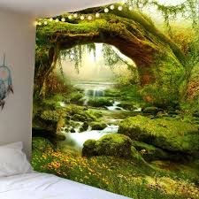 forest streams print wall hanging tapestry green w91 inch l71 inch