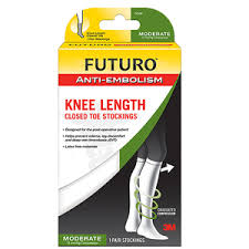 Futuro Anti Embolism Stockings Knee Length Closed Toe White
