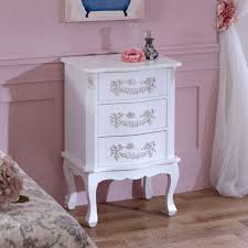 white wooden bedside table chest drawers shabby french chic bedroom furniture