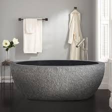 60 augustus chiseled stone tub black granite