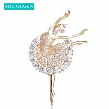 MECHOSEN Beautiful <b>Ballet</b> Girl Brass Brooches Shiny Full <b>Cubic</b> ...