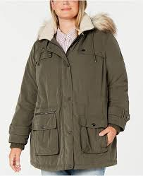 Dkny Baby Size Chart Plus Size Water Resistant Hooded Anorak Coat With Faux Fur Trim Created For Macys