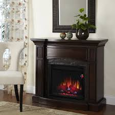 electric fireplace with a more traditional mantel