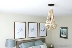 beaded flush mount light wood bead fixture marvelous how to make a chandelier home interior
