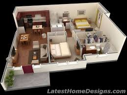 Small Picture House Plans Under Square Feet Square Feet 3D 2BHK House