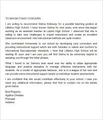 Recommendation Letter For Teaching Position Sample Letter Of Recommendation For Teaching Position