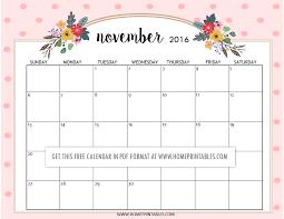 cute november calendar 2017 blank calendar 2017
