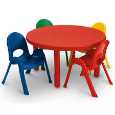 angeles value toddler table with 5 chairs set round 36 x 12 candy apple red