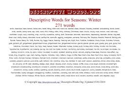 Christmas Day Essay Descriptive Words For Winter Descriptive Words List Of