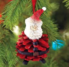 VIEW IN GALLERY handmade christmas tree ornaments pinecone red santa craft  Wonderful DIY 30+ Homemade Christmas Ornaments