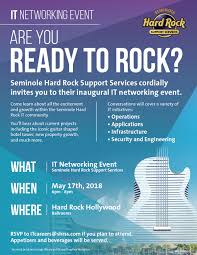 networking flyer are you ready to rock seminole hard rock it networking event