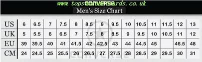 Converse Size Chart Men Converse Mens Size Chart Tops4creditcards Co Uk