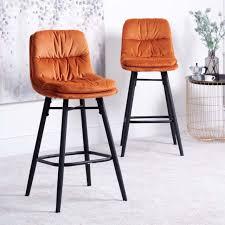enderson set of 2 bar stools burnt orange