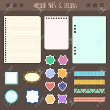 set of pages notebook with stickers colored tape staples template for accessories