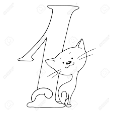 number one cartoon s and signs numeral and kitten vector isolated coloring book