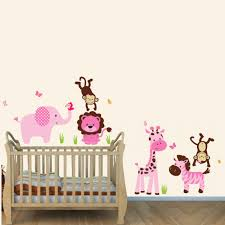 pink and green safari nursery wall decals with lion wall decal for girls rooms on baby safari nursery wall art with pink and green jungle theme wall decals with lion wall decal for