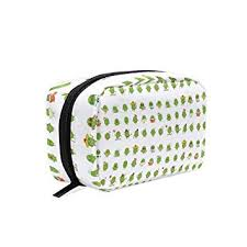 amazon makeup bag for portable cute cactus cartoon characters traveling square cosmetic pouch kits toiletry bag beauty