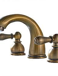 antique brass faucet. Antique Widespread Ceramic Valve Two Handles Three Holes Brass, Bathroom Sink Faucet Brass