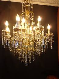 solid italian chandelier crystal brass 12 light points circa 1950 italy